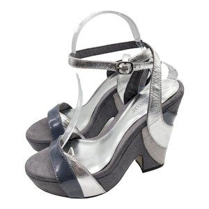 Seychelles Ankle Strap Gray Metallic Wedges Shoes